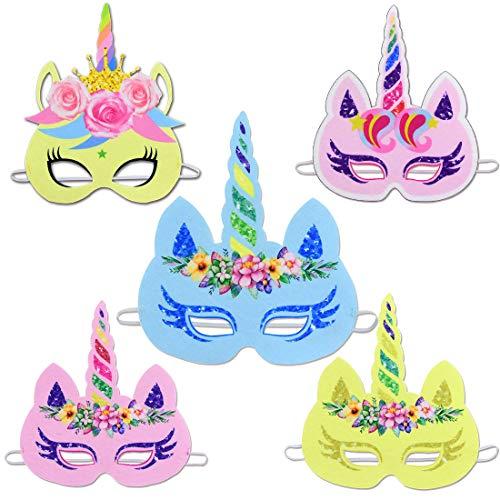 Gshy - Máscara de unicornio para fiesta de cumpleaños, 5 unidades