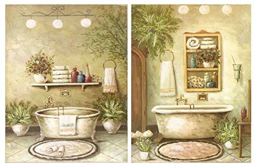 Cuadro de baño, Placas de Madera de Decoracion bañeras/Set de 2 Cuadros de 19 cm x 25 cm x 4 mm unid. Adhesivo FÁCIL COLGADO. Adorno Decorativo. Decoración Pared hogar