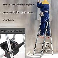 HLL はしご、多目的ポータブルテレスコピックラダー、テレスコピックラダーアルミ合金折りたたみ式拡張拡張ラダー、滑り止めフットカバー歩きやすい竹馬ラダー