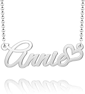 Q&Locket 925 Sterling Silver Heart Love Personalized Custom Name Necklace Script Initial Nameplate Necklaces Gifts for Girls Womens