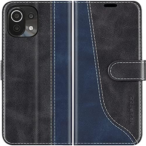 Mulbess Handyhülle Kompatibel mit Xiaomi Mi 11 Lite Hülle, Xiaomi Mi 11 Lite Hülle Leder, Etui Flip Handytasche Schutzhülle für Xiaomi Mi 11 Lite 5G Hülle, Schwarz