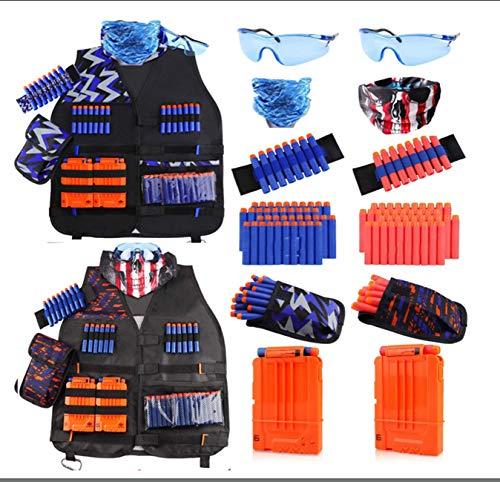 Equipo Táctico De Chalecos para Niños Pistola Attack Elite Series 2 Packs Chaleco Táctico De Niños Kit para Niños Y Niñas De 6 A 14 Años