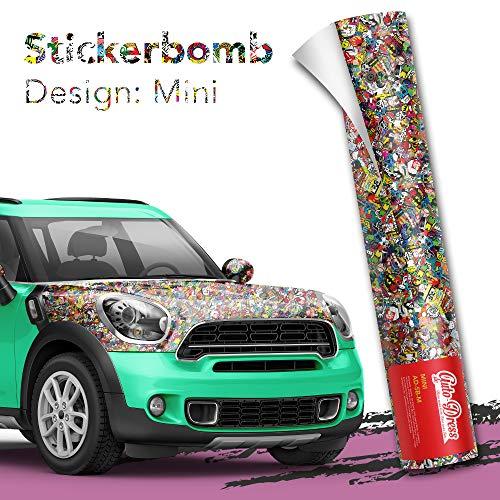 Stickerbomb Folie - Alle Designs - alle Größen! Ob Glänzend oder matt, bunt oder schwarz/weiß! Für blasenfreies 3D Car Wrapping Sticker Bomb Logo Aufklebern- JDM (50x150cm, Mini bunt glänzend)