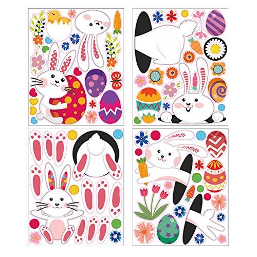 Diferentes tipos de huellas de conejos de Pascua, huevos de pared, bonitas pegatinas, pequeñas huellas de conejo, decoración de fiestas, pasta de vidrio, pasta de suelo.