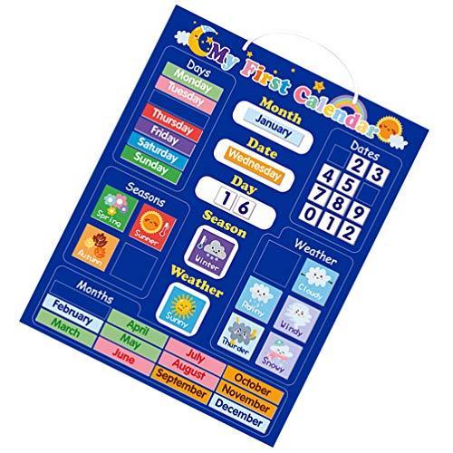 MILISTEN Calendario Magnético del Tiempo para Niños Juguete Educativo Magnético para Niños Pequeños Aprendizaje Preescolar para Niños Niñas Escuela Hogar Refrigerador Suministros
