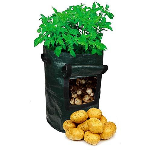 7DOO 1pz Sacco per Piante 45 Lt, Sacche per Piantare Patate Pomodoro Fragole Zucchine Verdure, Vaso per La Semina di Piantine, Grow Bag per Il Vostro Balcone o Terrazzo Orto Fioriera, Tessuto PE