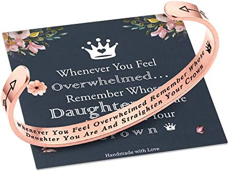 Whenever You Feel Overwhelmed Remember Whose Daughter Straighten Your Crown Bracelet Daughter product image