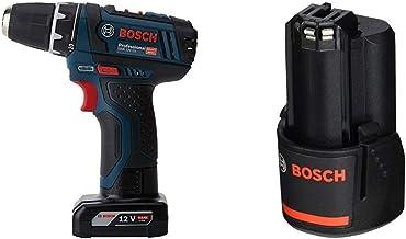 Bosch Professional GSR 12V-15 - Taladro atornillador a batería + Bosch GBA 12V 2.0Ah Professional - Batería de litio