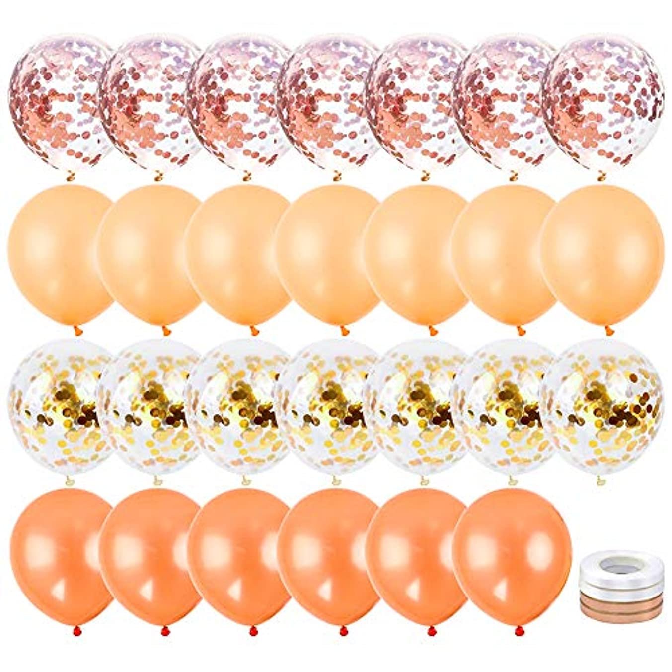 RUBFAC 80 12-inch Glitter Latex Balloons (Rose Gold, Rose Gold Confetti, Crimson, Gold Confetti Each 20), with 4 Ribbons For Weddings, Bridal and Baby Showers, Single Girls, Bachelorette, Vacation