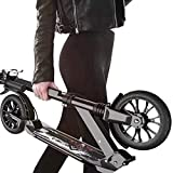 CMMC Adult Kick Scooter with Big Wheels and Disc Handbrake, Quick-Release Folding System - Dual Suspension System Commuter Scooter for Adults and Teens- Supports 330lbs