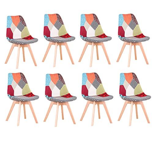 BenyLed Pack 8 Sillas de Comedor con Diseño de Patchwork con Asiento Tapizado y Patas de Madera, Respaldo Ergonómico (Rojo, 8)