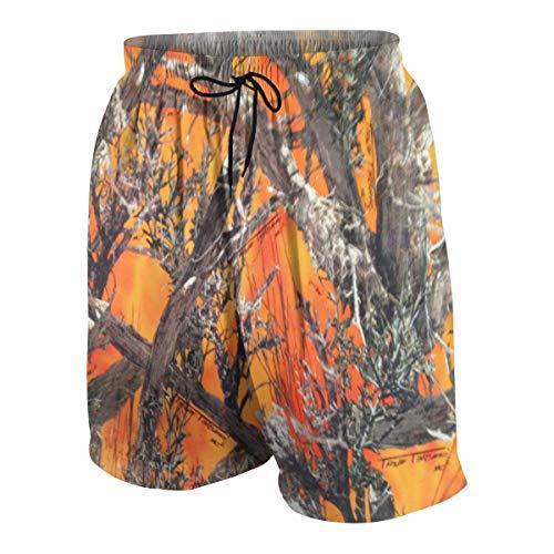 Teens Beach Board Shorts Quick-Dry Swim Trunks M(10-12) - Realtree Camo Orange
