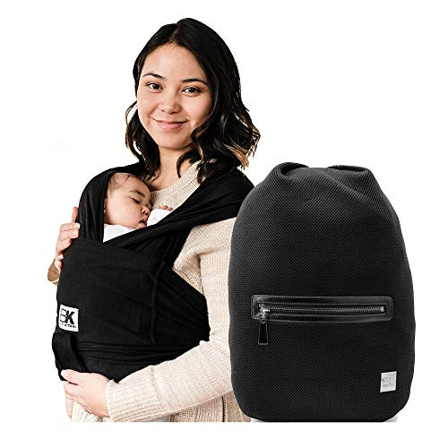 Baby K'tan Original Baby Wrap Carrier Black, Small and Diaper Bag Sojourn, Mesh Black