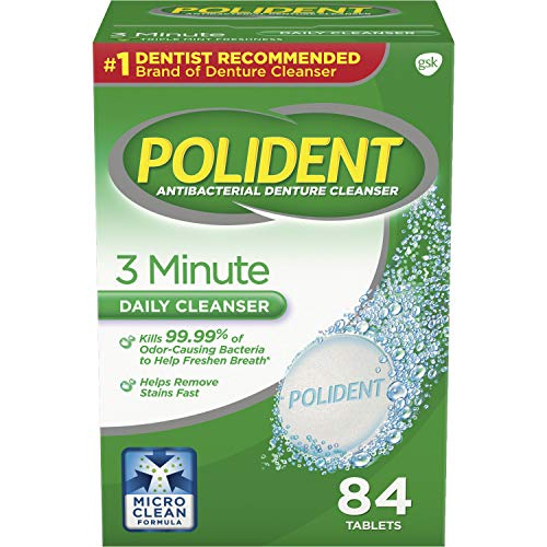 Polident 3 Minute Triple Mint Antibacterial Denture Cleanser Effervescent Tablets, 84 count, Pack of 3