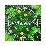 Jacque Dusk Reloj de Pared Moderno,Trébol Irlandés Hoja De Trébol Duende Oro,Grandes Decorativos Silencioso Reloj de...