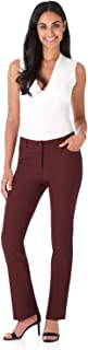 REKUCCI Women's Iconic Stretch 5 Pocket Straight Leg Pant w/Zipper Closure 6 Brick
