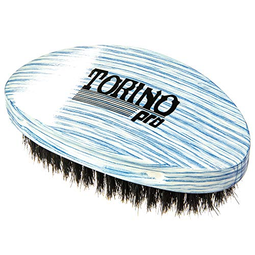 Torino Pro Wave Brush #21- Soft Curve Palm Brush - 100% boar bristle Curved hair brush for men-Great for laying and polishing your 360 waves before putting on your durag
