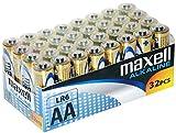Maxell LR6 - Pack de 32 pilas alcalinas AA, color dorado