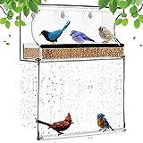 SummarLee Comedero para Pájaros De Ventana, Comedero para Pájaros Colgante, Jaula De Pájaros De Acrílico con Bandeja Extraíble Y Ventosas, Adecuado para Observación De Aves En Jardines Al Aire Libre