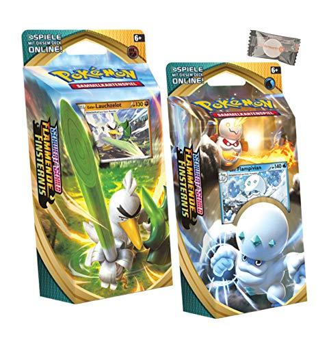 ★ Pokémon Schwert & Schild Flammende Finsternis - Beide Decks Galar-Flampivian + Galar-Lauchzelot + stickermarkt24de Gum