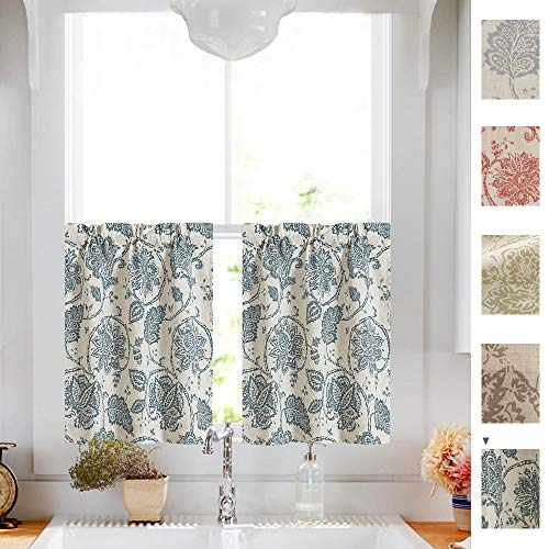 Paisley Scroll Printed Linen Tier Curtains Medallion Design Jacobean Floral Printed Curtains Burlap Vintage Living Room Window Treatment Set 36 Inch Long Teal 2 Panels