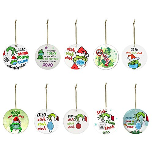 Grinch Hand Christmas Ornament, Personalize Grinch, Personalized 2020 Christmas Ornaments Face Mask Ornament Cartoon Hanging Ornament for Christmas Tree (10Pcs, Z Grinch Hand Gift Set)