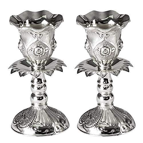 Ner Mitzwa Kerzenständer, versilbert, mit rundem Sockel und Blumenmuster, 2 Stück, Silber, silber, 10,16 cm
