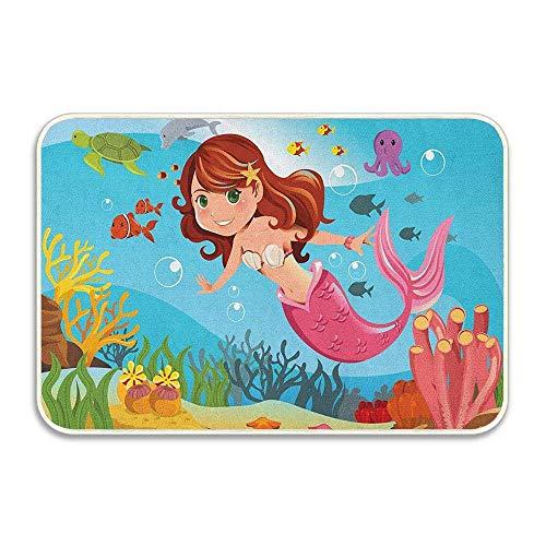 NA Hada Sirena Nadando bajo el Agua en el océano sonríe Alegre Felicidad Tema Felpudo Piso baño Entrada Alfombra Alfombra baño decoración Goma Antideslizante