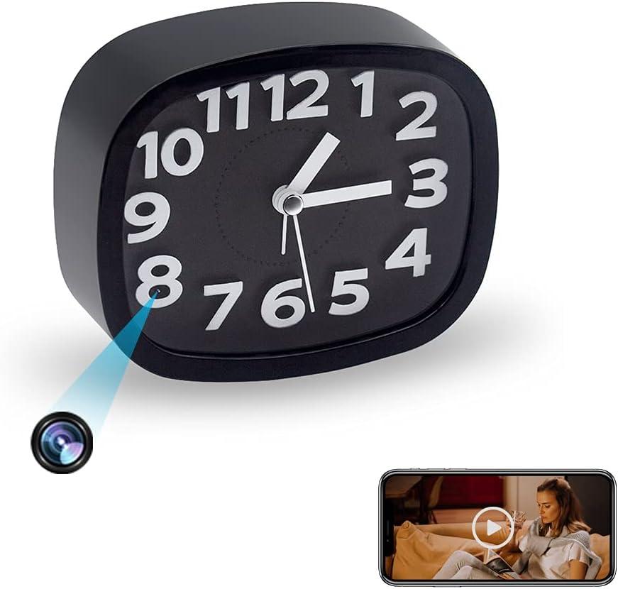 Cámara WiFi, Full HD 1080P - Reloj de mesa mini cámara IP inalámbrica, despertador, cámara con detección de movimiento, vigilancia a distancia -Tuya APP (batería recargable 2000 mAh)