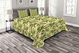 Ambesonne Tropical Bedspread, Exotic Plumeria Flowers and Palm Tree Leaves on Cream Background Hawaiian Flora, Decorative Quilted 3 Piece Coverlet Set with 2 Pillow Shams, King Size, Orange Green