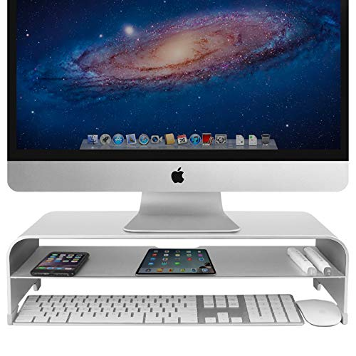 VAYDEER 2 Tiers Monitor Stand Riser Computer Stand up to 27 inches Screens for PC, Laptop, Computer, iMac, MacBook with Storage Organizer for Magic Keyboard & Mouse(Aluminum,Silver,50 * 22 * 13cm)