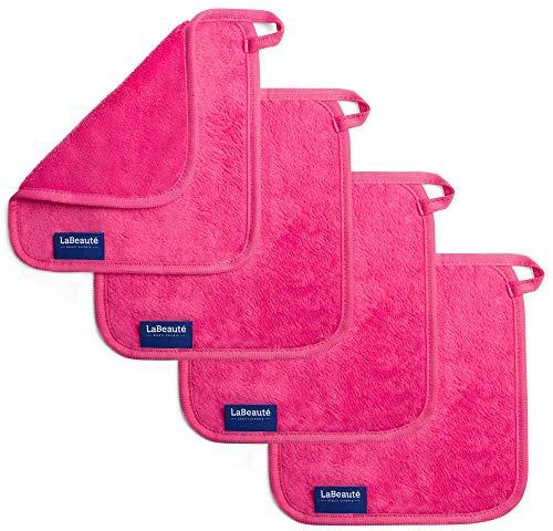 LaBeauté Mikrofaser Abschminktücher (4 Stück, 21x21 cm, pink) Gesichtsreinigung & Make Up Entferner - Microfaser Abschminkpads waschbar wiederverwendbar, zum Abschminken