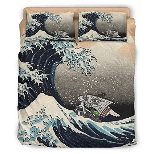 Juego de ropa de cama de 4 piezas, estampado japonés, gran ola ante Kanagawa, barco pirata, Ukiyoe de 4 piezas, ropa de cama cómoda de Navidad, edredón y almohada de 228 x 228 cm, color blanco