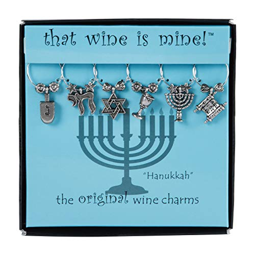 Wine Things Hanukkah Wine Charms, Fits neatly around stem, Multicolor