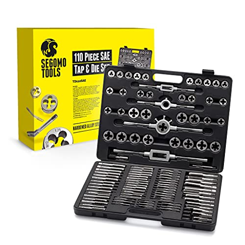 Segomo Tools 110 Piece Hardened Alloy Steel SAE Tap And Die Threading Tool Set With Storage Case