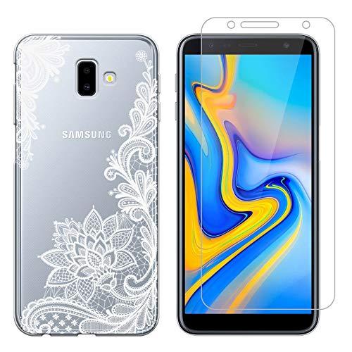 Funda Samsung Galaxy J6 Plus Flor Blanca Suave TPU