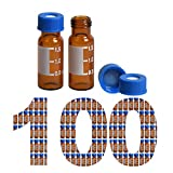 100 Pack Membrane Solutions Autosampler Vials 2ml HPLC Vials 9-425 Vial Amber Glass Bottle...