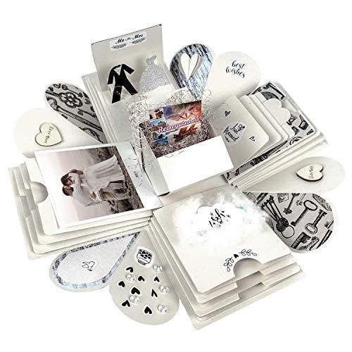 Happy Box PREMIUM SET DIY Überraschungsbox in 7 Farben | Explosionsbox, Scrapbook, faltbare Fotobox, Foto-Album für Muttertag,Jahrestag,Geburtstag,Hochzeit,Jubiläum,Valentinstag Geschenk (Creme-Weiß)