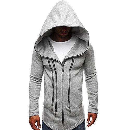 KPILP Mens Herbst Winter Mode Dunkler Umhang Zipper Hoodie Langarm Assassin's Creed Zur Seite Fahren Dick Warm Sweatshirt-Mantel(Grau, XL)