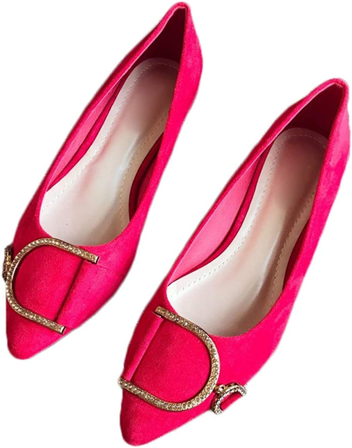 August Jim Womens Flats shoes,Slip-on Pointed Toe Fax Suede Fashion Wild Ballet shoes