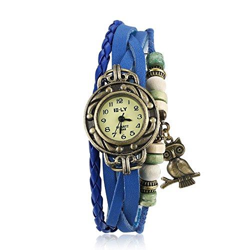 iWatch Reloj de pulsera para mujer, retro, bonito búho, correa de piel, analógico, mecanismo de cuarzo, color azul