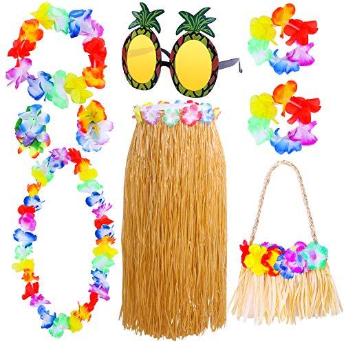 URATOT 9 Pieces Hawaiian Hula Grass Skirt with Hawaiian Handbag Necklace Bracelet Headband and Sunglasses for Luau Beach Party