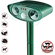 Wikoo Ultrasonic Animal Repeller,Solar Powered Pest Repeller,Waterproof Outdoor Repellent with Motion Activated PIR Sensor,Repel Dogs, Cats, Squirrels and more