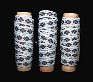 3 Spools Brown Blue White Argyle Scrapbook Ribbon Lace Trim Embroidery Applique Fabric Delicate DIY Art Craft Supply for Scrapbooking Gift Wrapping 1/2