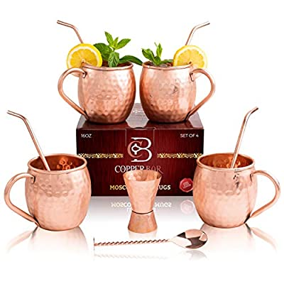 Moscow Mule Copper Mugs - Set of 4-100% HANDCRAFTED Pure Solid Copper Mugs - 16 Oz Gift Set with Highest Quality Cocktail Copper Straws, Jigger, Stirrer & 2 E-Books by Copper-Bar