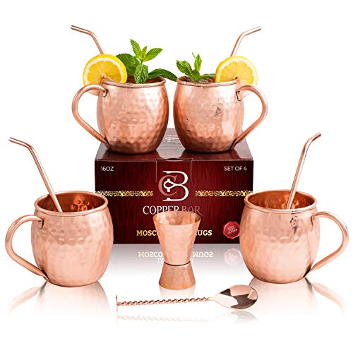 Moscow Mule Copper Mugs - Set of 4 - 100% HANDCRAFTED Pure Solid Copper Mugs - 16 Oz Gift Set with Highest Quality Cocktail Copper Straws, Jigger, Stirrer & 2 E-Books by Copper-Bar