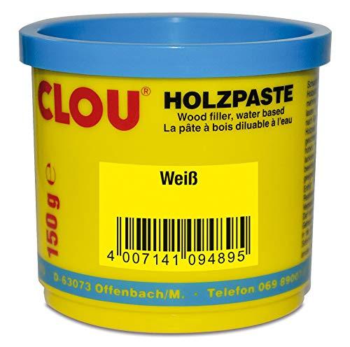 Clou Holzpaste zum Reparieren und Auskitten von Holzschäden weiß, 150 g: gebrauchsfertige Paste geeignet für den gesamten Innenbereich