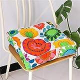 Treer Cojines de Asiento y Silla Funda de algodón 100% - Muchos Colores - Acolchado Grueso/Cojín de Suelo para Interior y Exterior - Decoración (Flor Cuadrada,45x45cm)