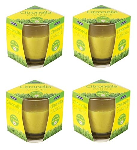 4 x Chatsworth Citronella Glass Candle Fragranced for Outdoor garden patio bbq camping