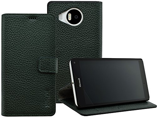 Suncase Microsoft Lumia 950 XL Book-Style (Slim-Fit) Ledertasche Leder Tasche Handytasche Schutzhülle Hülle Hülle (mit Standfunktion & Kartenfach) dunkel grün